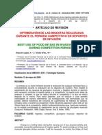 alarcon 2006 OPTIMIZACIÓN DE LAS INGESTAS REALIZADAS DURANTE EL PERIODO COMPETITIVO EN DEPORTES DE INVASIÓN