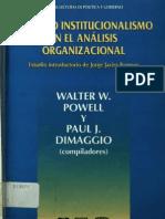 El Nuevo Intitucionalismo en El Analisis Organizacional