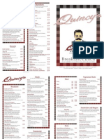 Quincy's Breakfast and Lunch Menu