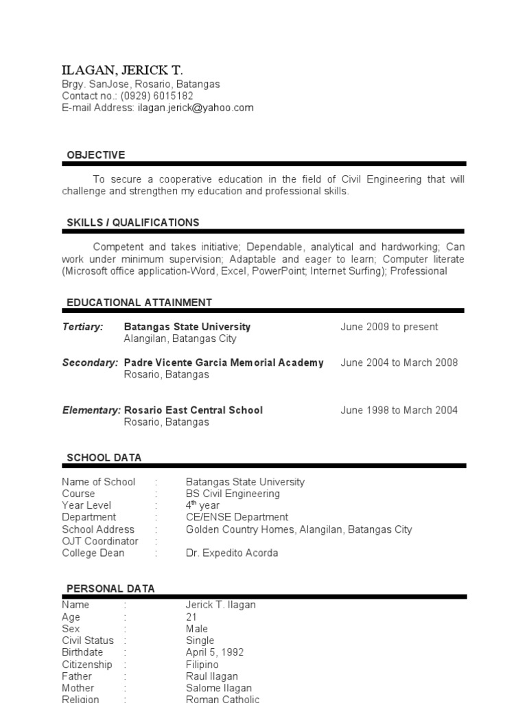 OJT Resume Of Batangas State University Students  Civil Engineering Student Resume