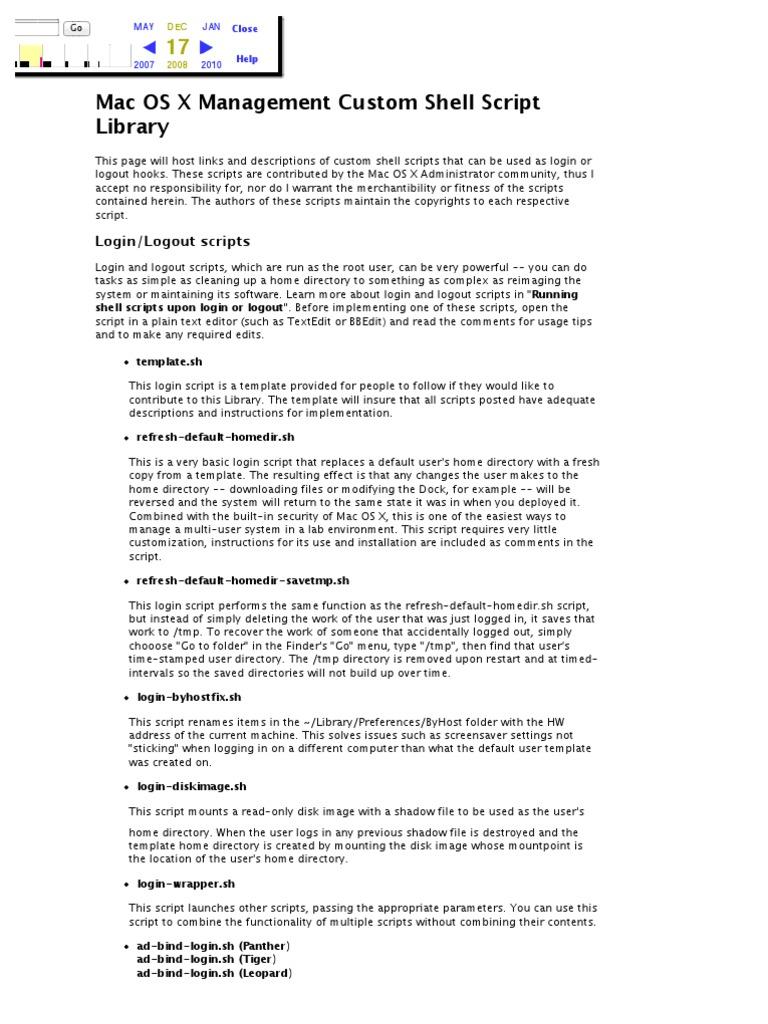Bombich.com- Mac OS X Management Custom Shell Script Library ...