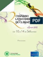 Programa del II Congreso Latinoamericano de Clarinetistas LIMA 2012 (Clariperu)