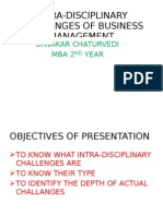 Intra Disciplinary Challanges of Buisness Management