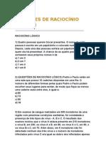 QUESTÕES DE RACIOCÍNIO LÓGICO I.doc
