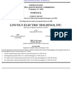 LINCOLN ELECTRIC HOLDINGS INC 8-K (Events or Changes Between Quarterly Reports) 2009-02-23