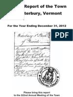 Waterbury Town Report 2012