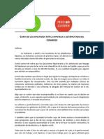 PAH - Carta de Los Afectados Por La Hipoteca a Los Diputado Del Congreso