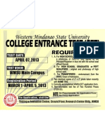 College Entrance Test  APRIL 07, 2013