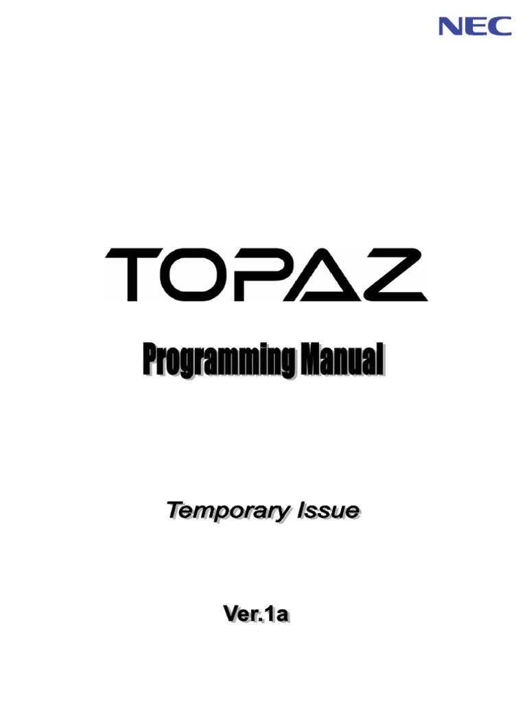 nec topaz programming manual session initiation protocol rh scribd com  nec aspila topaz installation manual