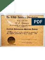 Walter Adamson EDP Auditors Association Certified Systems Auditor 1984