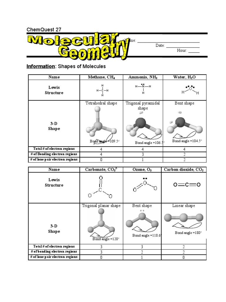 ChemQuest 2001 27 Chemical Bond – Molecular Geometry Worksheet Answers