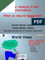 Behavior Analysis and Contextualism