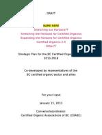BC Organics Sector Strategic  Plan 2013-2018