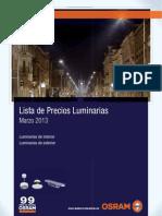 OSRAM Lista General de Precios Luminarias Marzo 2013