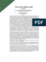 Lettres de Moulay Al Arabi Al Darqawi