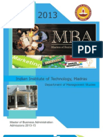 IIT Madras MBA Information Brochure 2013-15