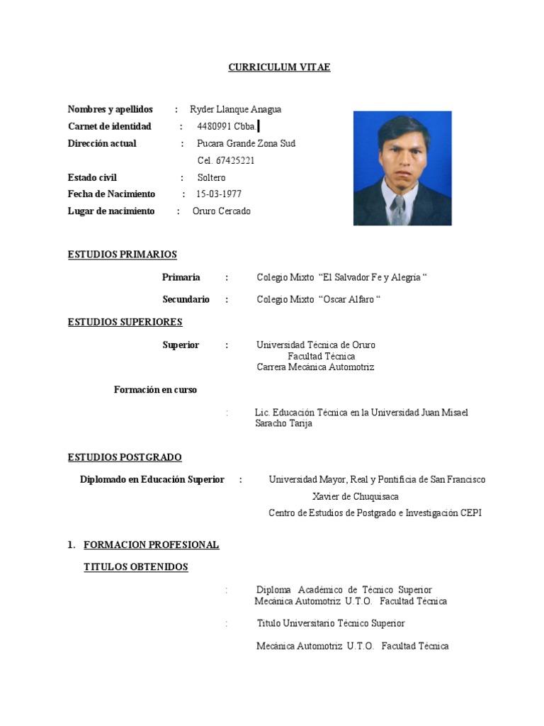Lujo Curriculum Vitae Para El Técnico De Mantenimiento Bandera ...