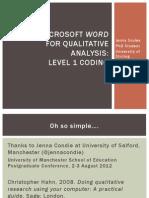 Microsoft Word Analysis