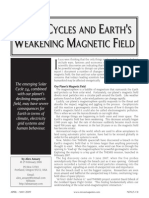 Solar Cycles and Earth's Weakening Magnetic Field