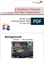 Improving Feedback Dialogue in Large First-year Classrooms