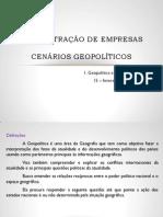 1ª Cenários Geopolíticos
