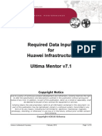 114118809 APPENDIX H Ultima Mentor Version 7 1 Required Data Inputs for Huawei