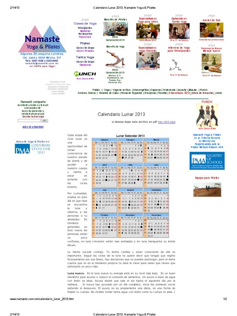 Calendario Lunar 2013, Namaste Yoga & Pilates | Pilates | Lua