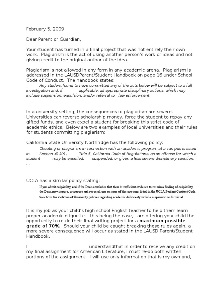 Plagiarism Letter Plagiarism Social Institutions