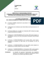 Directive 01 2008 CM UEMOA