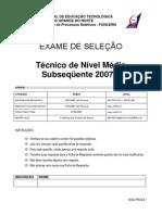 Prova Tecnico Subsequente 2007 1
