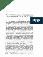 De La Patristica a Fr. Luis de Leon, Hist. Nombres de Cristo