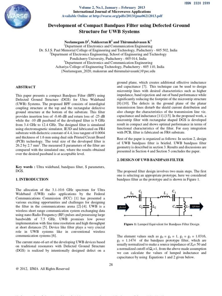 Development of Compact Bandpass Filter using Defected Ground