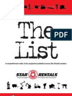 Star Rentals Equiptment List