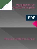 Management of Classroom Discipline