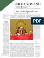 Osservatore Dimissioni Papa
