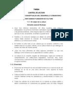 Tarea Control de Lectura 1. Fundamentos Conceptuales Del Desarrollo Comunitario