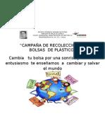CAMPAÑA DE RECOLECCION DE BOLSAS DE PLASTICO