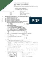 Matematika Mid Semester 2 Klas 7 Tahun 2013