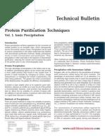 SAFC Biosciences - Technical Bulletin - Protein Purification Techniques Vol. 1. Ionic Precipitation