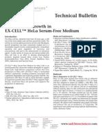 SAFC Biosciences - Technical Bulletin - HeLa S3 Cell Growth in EX-CELL™ HeLa Serum-Free Medium