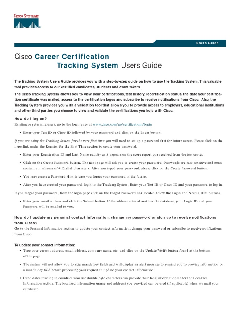 Cisco Certification Tracking Guide Email Cisco Certifications