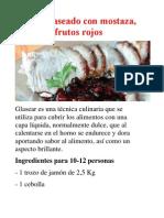 Jamón glaseado con mostaza, brandy y frutos rojos