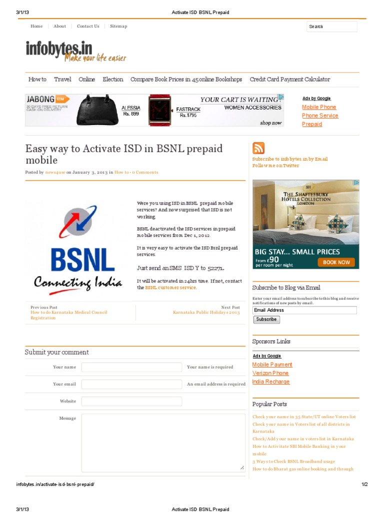 Activate ISD BSNL Prepaid | Mobile Phones | Wireless