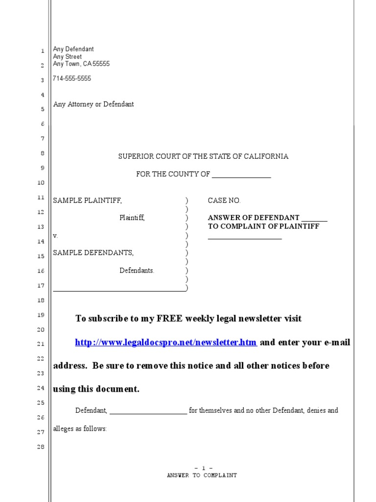 Sample answer to adversary complaint for united states bankrupcy court.