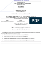 TOWER FINANCIAL CORP 8-K (Events or Changes Between Quarterly Reports) 2009-02-24