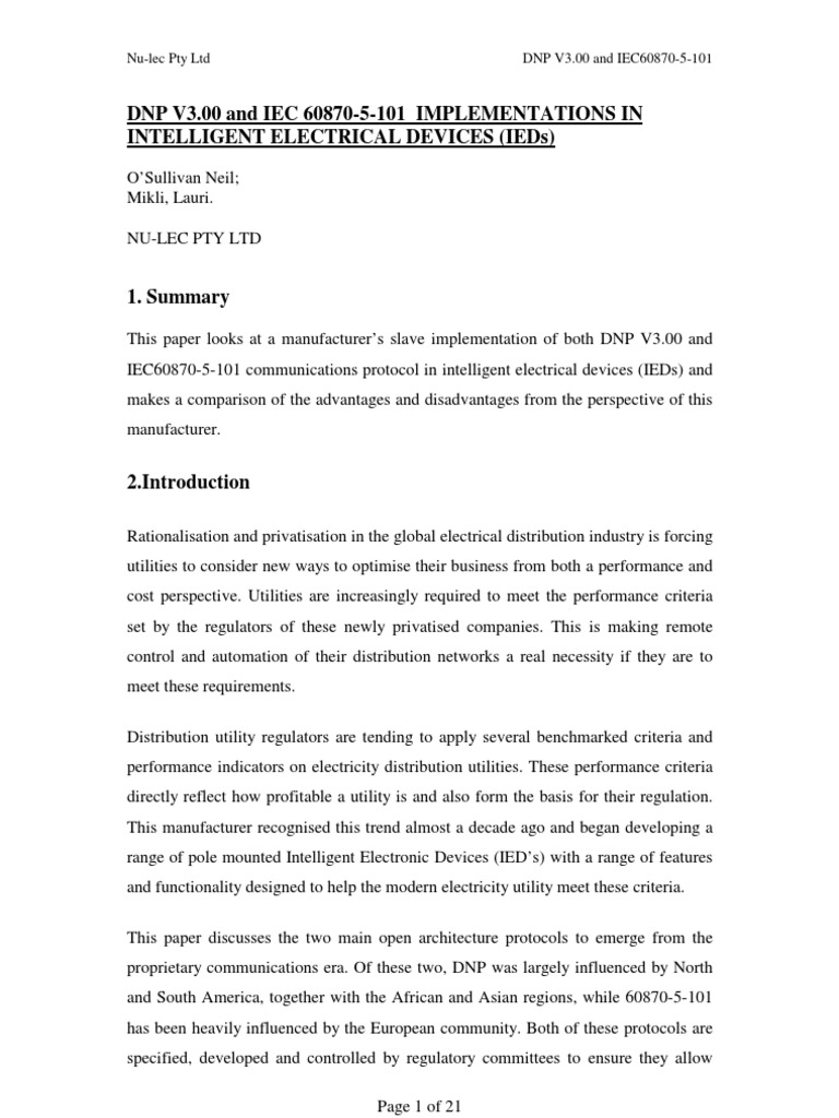 iec 60870 5 101 pdf_Dnp v3.00 and Iec 60870-5-101 Implementations in Intelligent | Communications ...