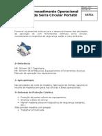 Procedimento Ferramentas elétricas (Serra circular portátil)