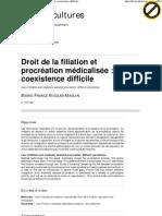 Droit de la filiation et procréation médicalisée_ une coexistence difficile