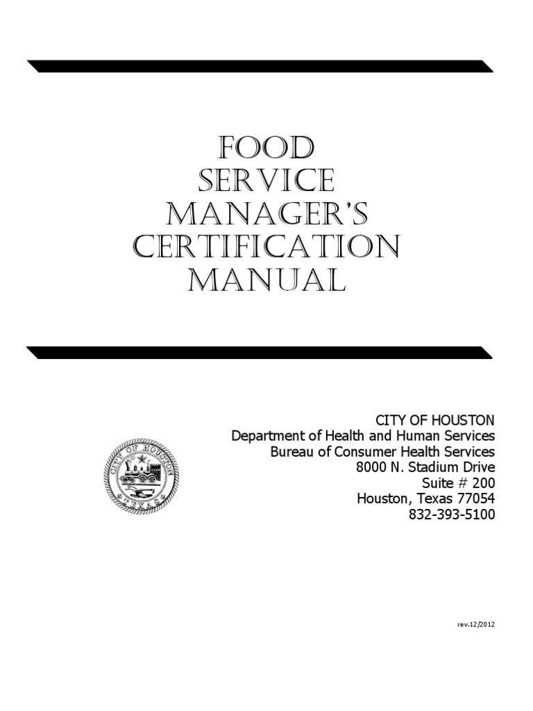 City Of Houston Food Managers Manual Foodborne Illness Hand Washing