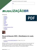 Desenvolvimento IDH x Distribuição de renda GINI - MobilizaçãoBR